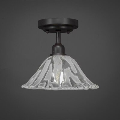 Kash 1-Light Italian Ice Glass Shade Semi-Flush Mount
