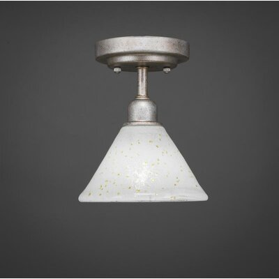 Kash 1-Light White/Gold Semi-Flush Mount Size: 8.5 H x 7 W x 7 D