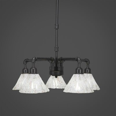 Kash 5-Light Italian Ice Glass Shaded Chandelier Finish: Dark Granite