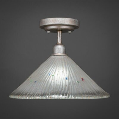 Kash 1-Light Frosted Crystal Glass Semi-Flush Mount