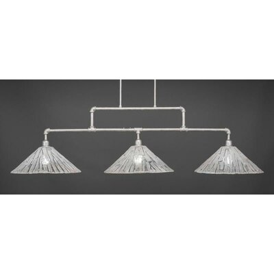 Kash 3-Light Italian Ice Glass Kitchen Island Pendant Base Finish: Aged Silver