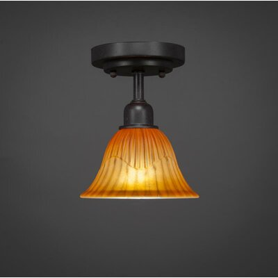 Kash 1-Light Tiger Glass Semi-Flush Mount