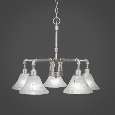 Kash 5-Light Frosted Crystal Glass Shaded Chandelier