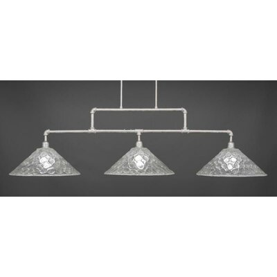 Kash 3-Light Italian bubble Glass Kitchen Island Pendant Base Finish: Aged Silver