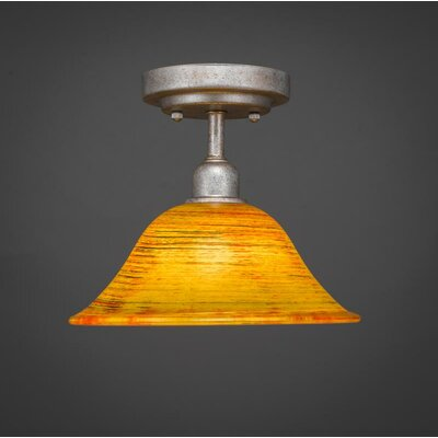 Kash 1-Light Amber Semi-Flush Mount Size: 8.5 H x 10 W x 10 D