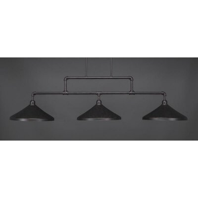 Kash 3-Light Cone Metal Kitchen Island Pendant Base Finish: Dark Granite