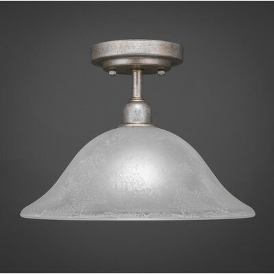 Kash 1-Light Marble Glass Semi-Flush Mount Shade Color: White