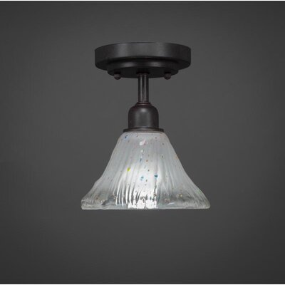 Vintage 1-Light Semi-Flush Mount Shade Color: White