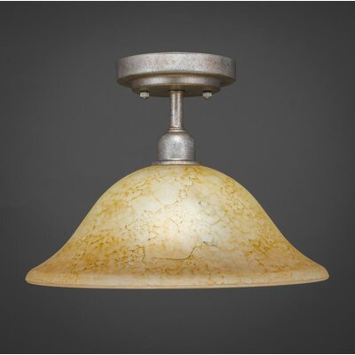 Kash 1-Light  Italian Marble Glass Semi-Flush Mount