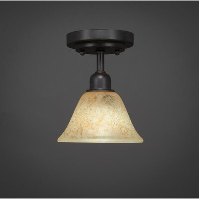 Kash 1-Light Beige/Dark Granite Semi-Flush Mount Size: 8.5 H x 7 W x 7 D