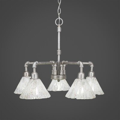 Kash 5-Light Italian Ice Glass Shaded Chandelier Finish: Aged Silver