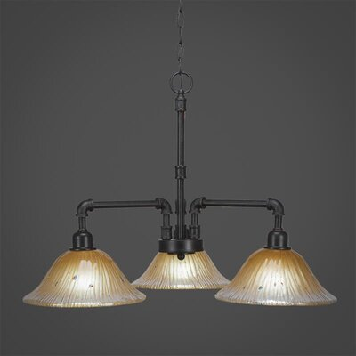 Kash 3-Light Amber Shaded Chandelier Size: 19 H x 22.25 W x 22.25 D