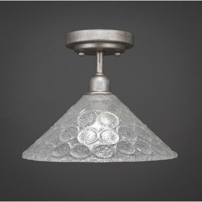 Kash 1-Light Italian Bubble Glass Semi-Flush Mount