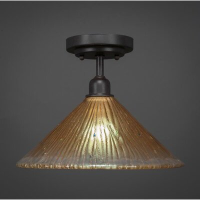 Kash 1-Light Glass Cone Shade Semi-Flush Mount Shade Color: Amber
