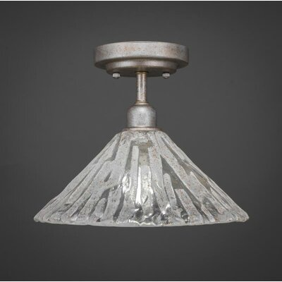 Kash 1-Light Italian Ice Glass Semi-Flush Mount