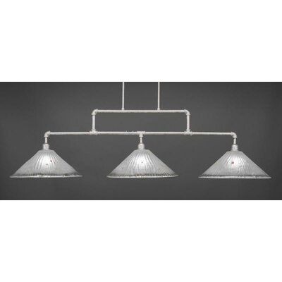Kash 3-Light Frosted Crystal Kitchen Island Pendant Base Finish: Dark Granite