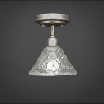 Kash 1-Light 60W Italian Bubble Glass Semi-Flush Mount