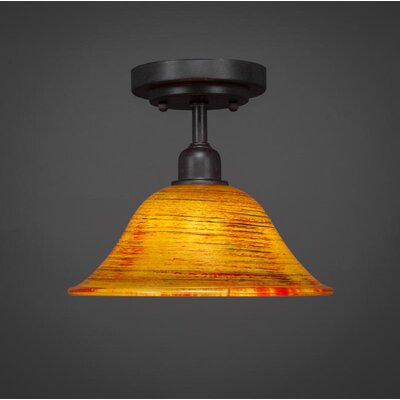 Kash 1-Light Glass Bell Shade Semi-Flush Mount Size: 8.5 H x 10 W x 10 D