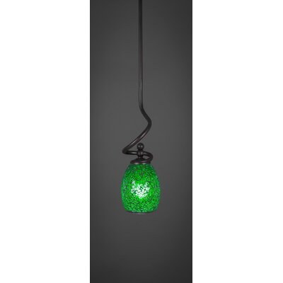 Capri Stem 1-Light Mini Pendant Shade Color: Green
