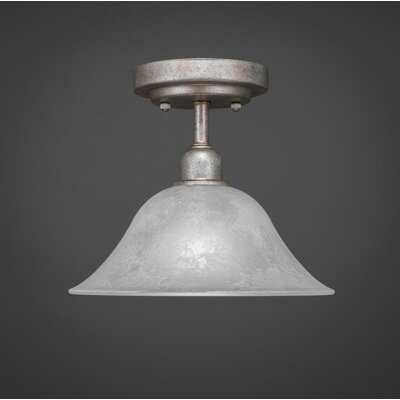 Kash 1-Light White Marble Glass Semi-Flush Mount Size: 8.5 H x 10 W x 10 D