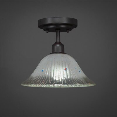 Kash 1-Light Crystal Bell Shade Semi-Flush Mount Shade Color: White