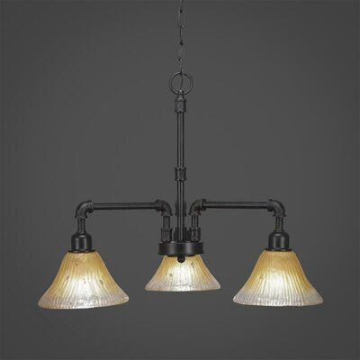 Kash 3-Light Amber Shaded Chandelier Size: 18.75 H x 20 W x 20 D