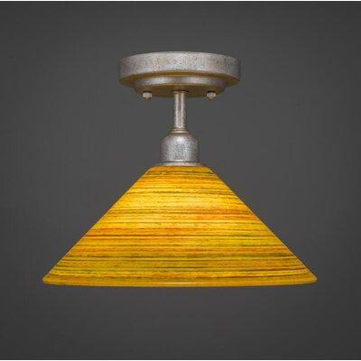 Kash 1-Light Amber Bell Shade Semi-Flush Mount