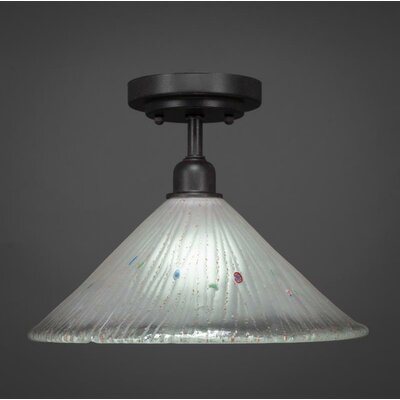 Kash 1-Light Glass Cone Shade Semi-Flush Mount Shade Color: White