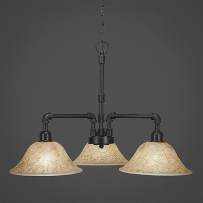 Vintage 3-Light Shaded Chandelier