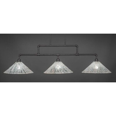 Kash 3-Light Italian Ice Glass Kitchen Island Pendant Base Finish: Dark Granite