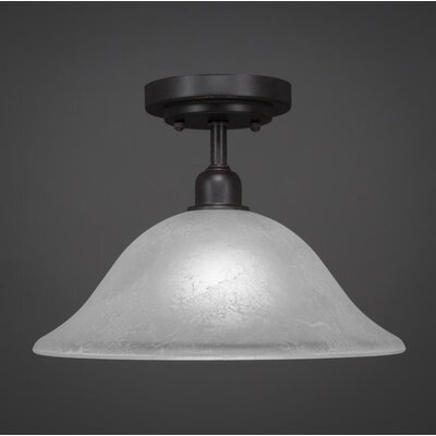 Kash 1-Light Marble Semi-Flush Mount Shade Color: White
