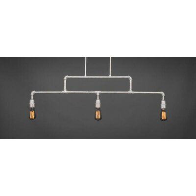 Kash 3-Light Steel Kitchen Island Pendant Base Finish: Aged Silver