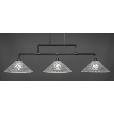 Kash 3-Light Italian bubble Glass Kitchen Island Pendant Base Finish: Dark Granite