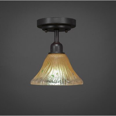 Kash 1-Light Crystal Semi-Flush Mount Shade Color: Amber