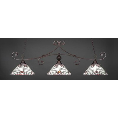 Copeland 3-Light Billiard Pendant Base Finish: Bronze, Shade Color: Purple