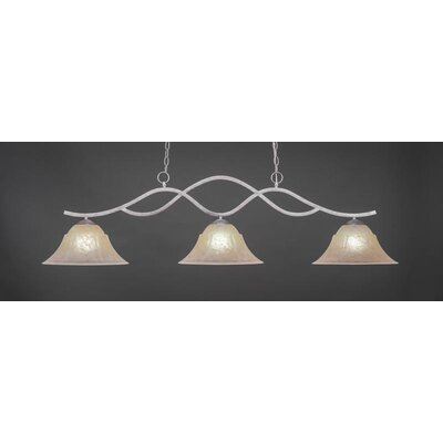 Revo 3-Light Kitchen Island Pendant Base Finish: Aged Silver, Shade Color: Amber