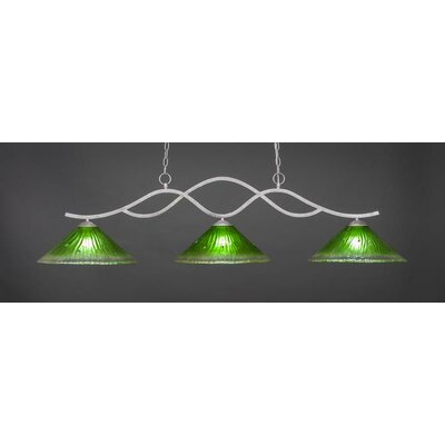 Revo 3-Light Billiard Pendant Base Finish: Aged Silver, Shade Color: Kiwi Green