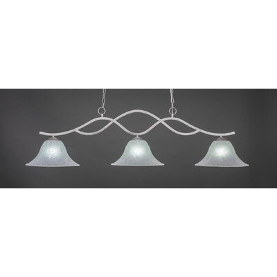Revo 3-Light Kitchen Island Pendant Base Finish: Aged Silver, Shade Color: White