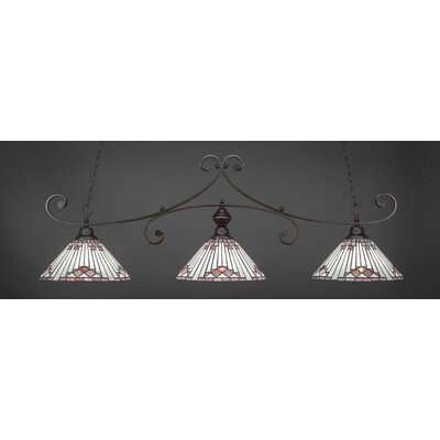 Copeland 3-Light Billiard Pendant Base Color: Dark Granite, Shade Color: Purple