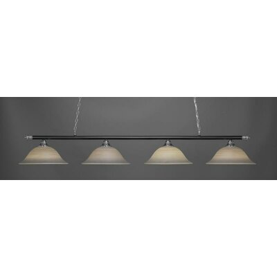 Oxford 4-Light Billiard Pendant Base Finish: Chrome/Matte Black, Shade Color: Gray