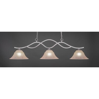 Revo 3-Light Kitchen Island Pendant Base Finish: Aged Silver, Shade Color: Italian