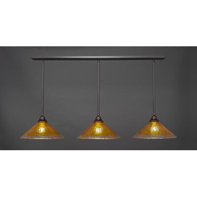 3-Light Kitchen Island Pendant Base Finish: Dark Granite, Shade Color: Gold Champagne