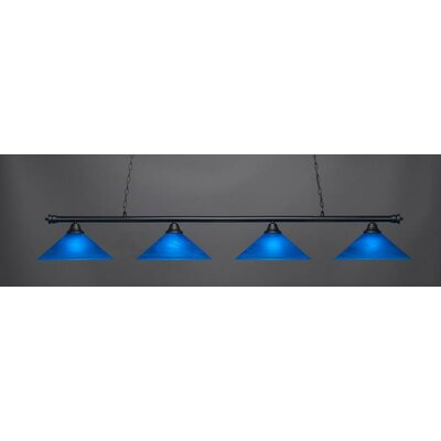 Passabe 4-Light 150W Glass Shade Billiard Pendant Base Finish: Matte Black
