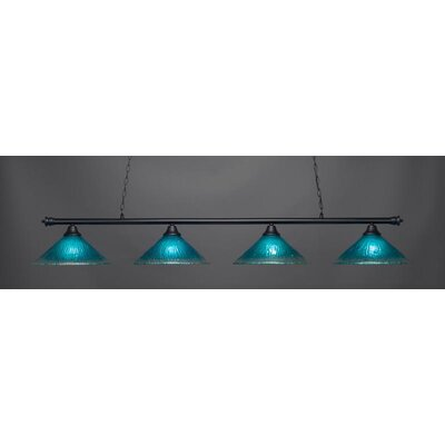 Oxford 4-Light Billiard Pendant Base Finish: Matte Black, Shade Color: Teal