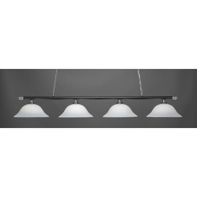 Oxford 4-Light Billiard Pendant Base Finish: Chrome/Matte Black, Shade Color: White