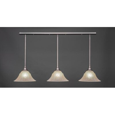 3-Light Kitchen Island Pendant Base Finish: Brushed Nickel, Shade Color: Amber