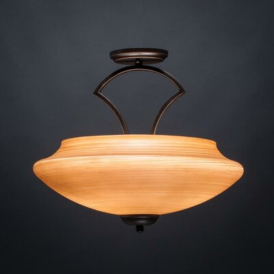 Zilo 3-Light Semi Flush Mount Finish: Dark Granite, Shade Color: Cayenne