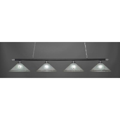 Oxford 4-Light Billiard Pendant Base Finish: Chrome/Matte Black, Shade Color: Frosted