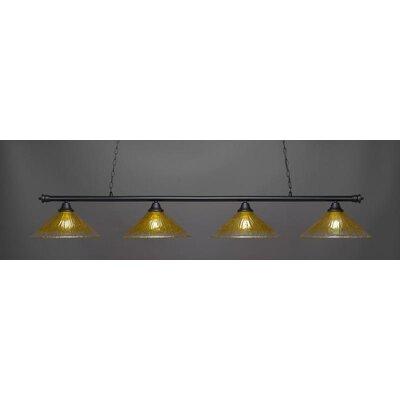 Oxford 4-Light Billiard Pendant Base Finish: Matte Black, Shade Color: Gold Champagne