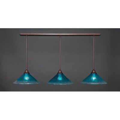 3-Light Kitchen Island Pendant Shade Color: Teal, Base Finish: Bronze